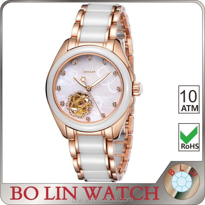 ceramic & stainless steel skeleton watch , luxury ladies watch