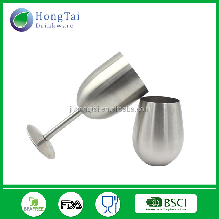 2017 New arrived stainless steel wine glass egg shape stemless wine cup