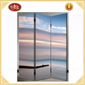 Interior decoration ocean screen room dividers Printed Canvas folding screens
