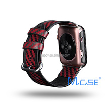 2017 Trending Products Carbon Fiber Watch Leather Wrist Band for Apple Watch Strap