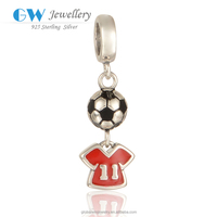 925 sterling Silver Football Fans As Jewelry Accessory Color Silvery Number Pendant Charms S275