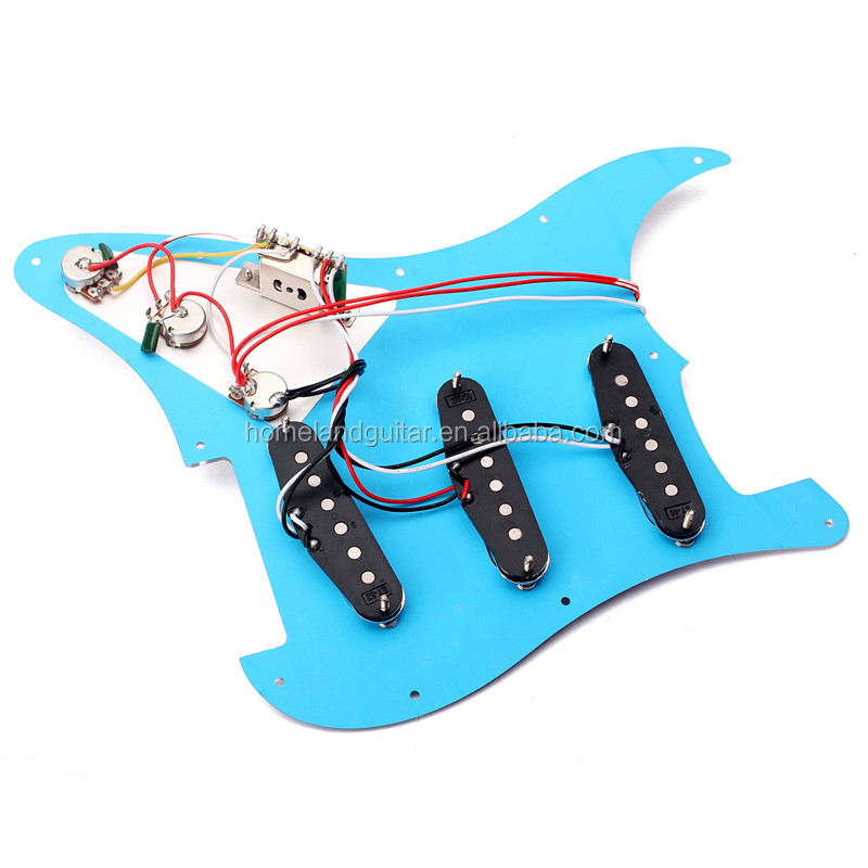 High Quality Electric Guitar Prewired Mirror Pickguard 5 Way Switch Loaded Pickguard Set with 11 hole