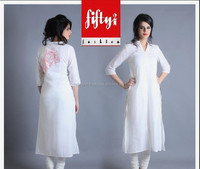 White New Cloth Fashionable Arrivals Of Long Kurti Collection - 2015