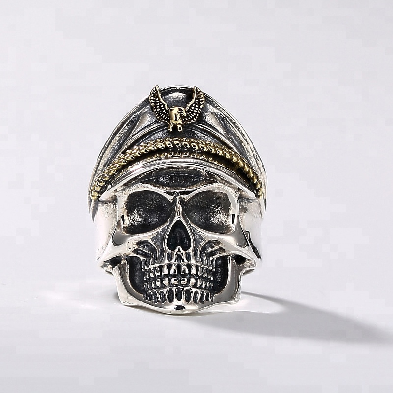 2018 Hot Sale Men 925 Sterling Silver Rings Punk Rock Vintage Adjustable Size Skull Ring Men <strong>Jewelry</strong>