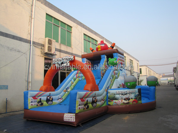 Commercial Inflatable slides with jumping bounces combo, kids inflatable bouncy slide for rental