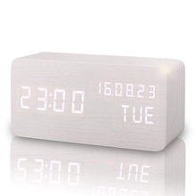 Wooden Retro Digital LED Clock Running Rechargeable Alarm Clock