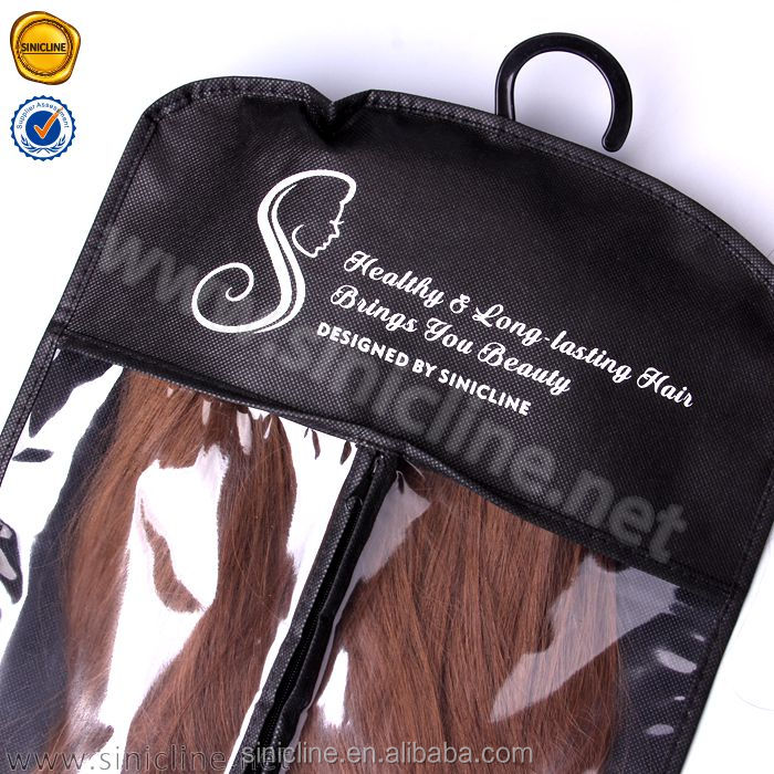 Sinicline creative design beautiful logo pvc black hair extension package