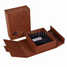 Brown pu luxury wine storage packaging leather gift box