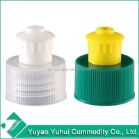 Yuyao Yuhui 24mm 28mm Non spill plastic pull push cap for detergent bottle