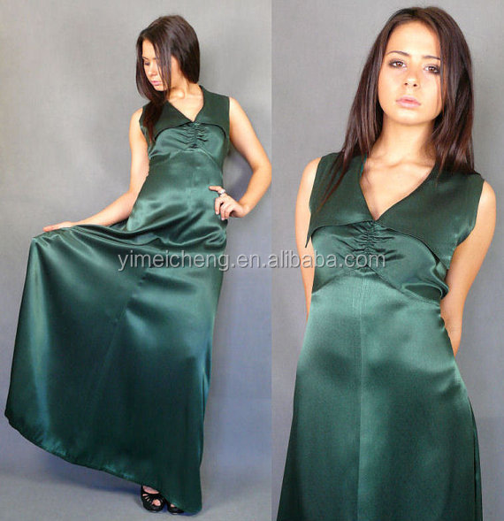 Deep green satin women long dress Plus Size Formal Long Evening Party Dress