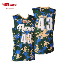 Cheap camo kids reversible basketball uniform with custom design
