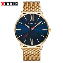 CURREN 8238 Stainless Steel Back Watch Case 316l Mesh Strap Hand Watch for Men