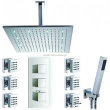 "Ceiling mount 12"" Led thermostatic rain concealed shower set"