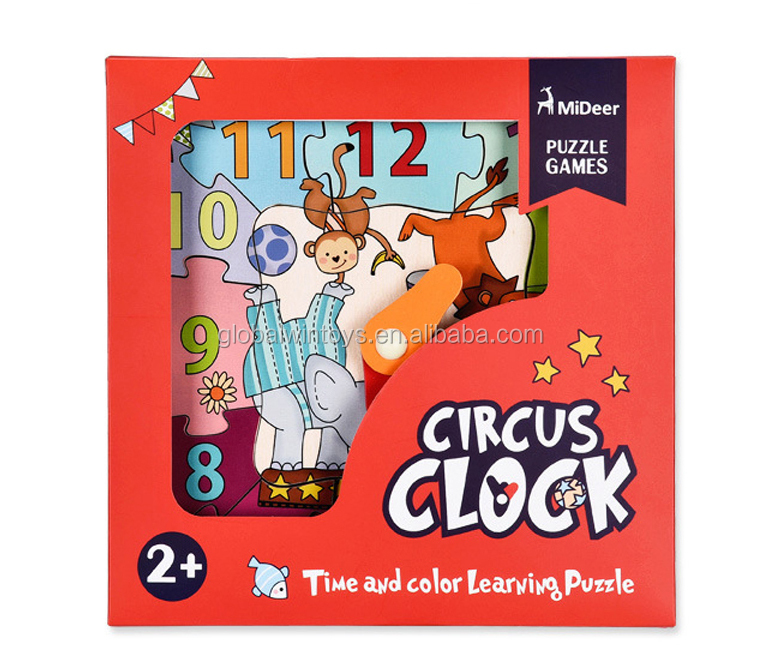 MIDEER Kids jisaw Puzzles Wooden Cognitive child Puzzle Clock Color Digital