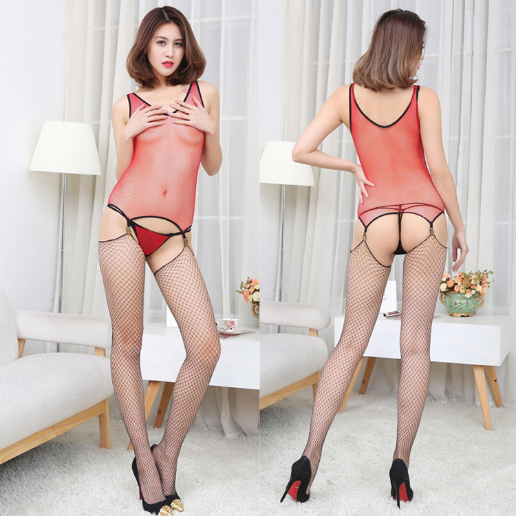 Red mature lingerie sexy Fishing Netting Exotic Lingerie sex game costume lingerie with net stockings