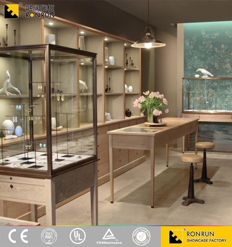 RJM0555 Modern grace jewelry store furniture, wooden mirrored jewellery showroom counter design