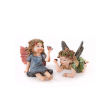 Mini Garden Resin Fairy Pair One Laying One sitting