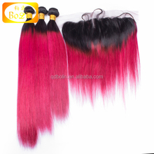 Cheap Unprocessed Virgin Human Hair Silk Straight ombre color 1B/hot pink 3pcs bundles with a frontal Human Hair Weave