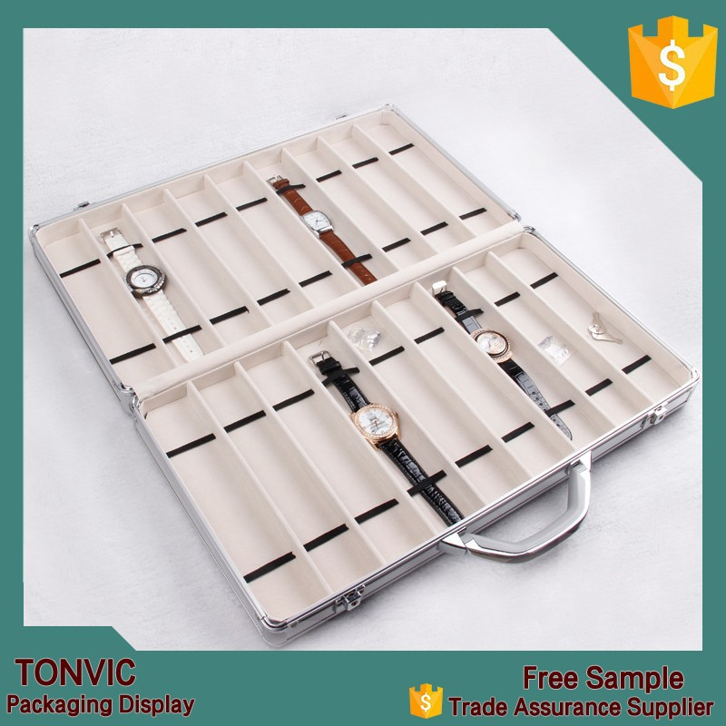 Unique Travel Portable Watch Boxes Cases Display Tray Aluminium With Handle Lock 18 Slots