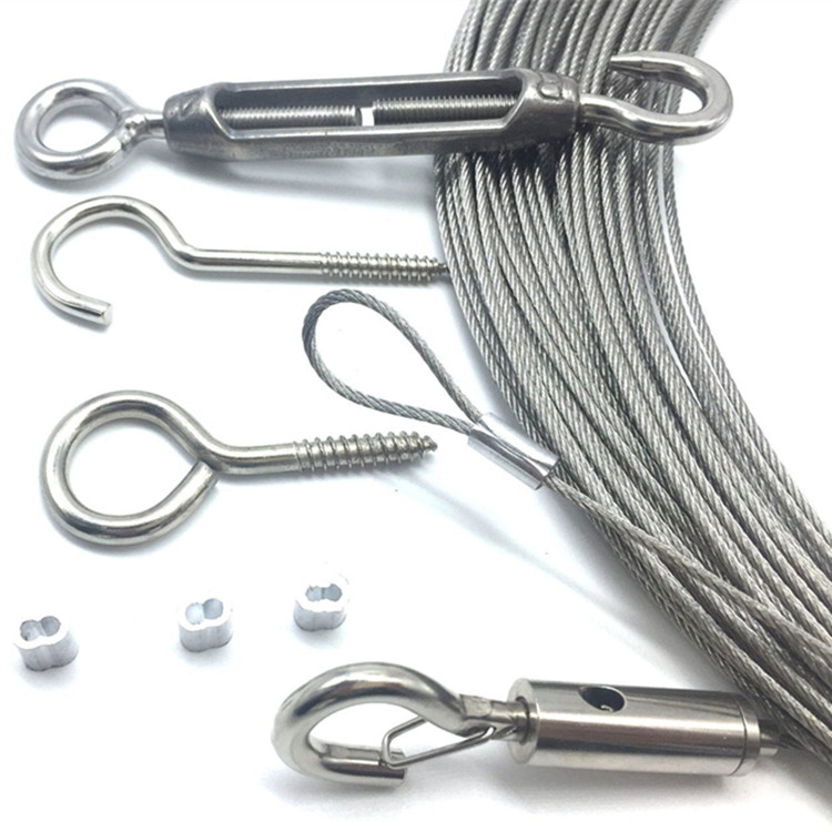65ft Globle String Outdoor Light Guide Wire Rope Suspension Hanging Kits With Turnbuckle and Hooks