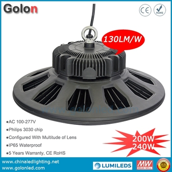 Super bright 240W 200W 160W 100W 130Lm/W IP65 waterproof 5 yeas warranty UFO LED high bay light