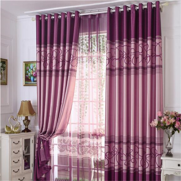 sunshine crewel fabric purple color curtains with plain color sheer