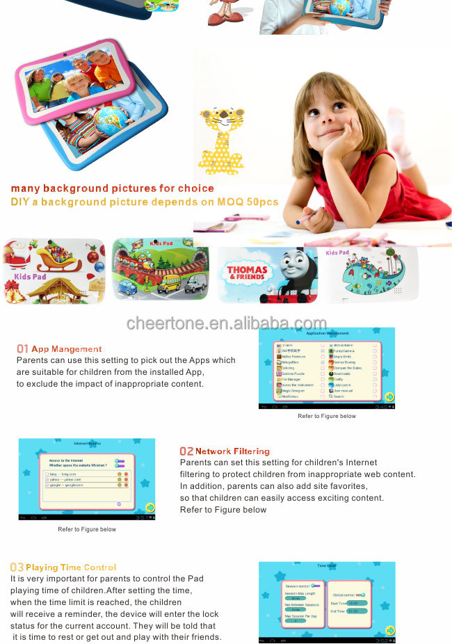 7 inch children android tablet pc android 4.2 with touch screen and wifi