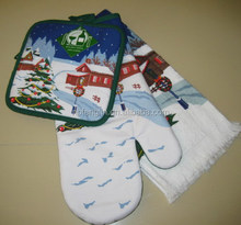 Best Price Christmas Ornament Oven Glove/Potholder/Terry Towel 3pcs Kitchen Set