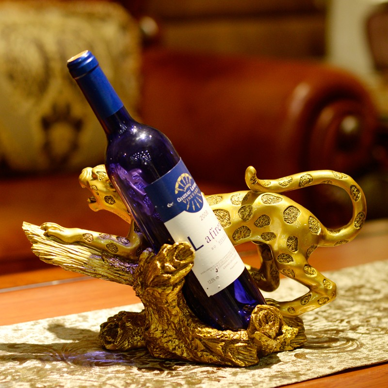wholesale decorative polyresin luxury animal leopard wine bottle holder