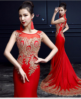 Luxury gold applique floor length red evening dresses gowns 2015 mermaid wedding party dresses