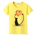 Good quality brand clothes animals cat spandex cotton printed t-shirt women