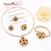WesternRain Brand New Nigeria Women Jewelry Set,Costume African Black Point Ball Beads Jewelry