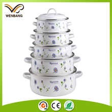 Reoona casserole 5pcs white enamel cookware pot set