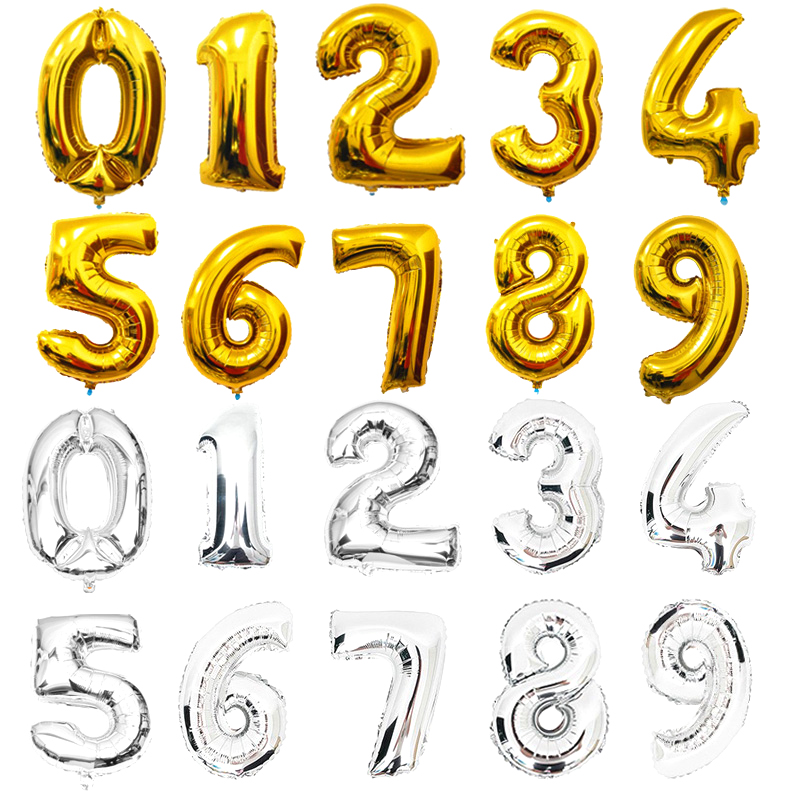 Custom made High Quality Party gold silver Aluminum numbers helium Foil Balloon