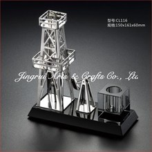 Black crystal base silver plated zinc alloy souvenir gift metal oil rig model