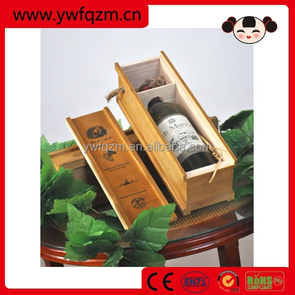 Natural Wooden Wine Box/Wine Case with Handle for Single Bottle,Eco-friendly
