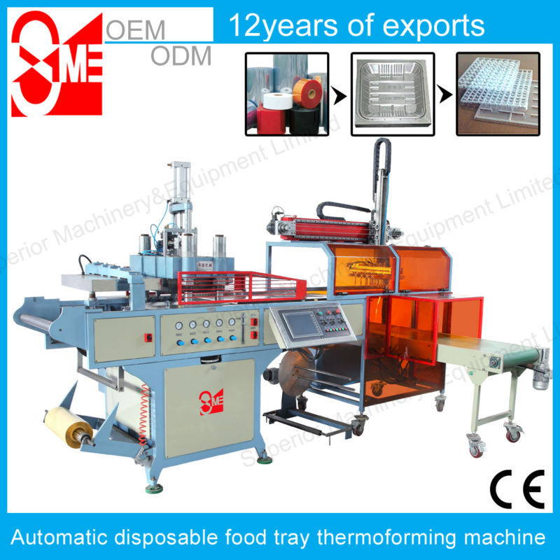 Automatic BOPS disposable food tray / container thermoforming machine