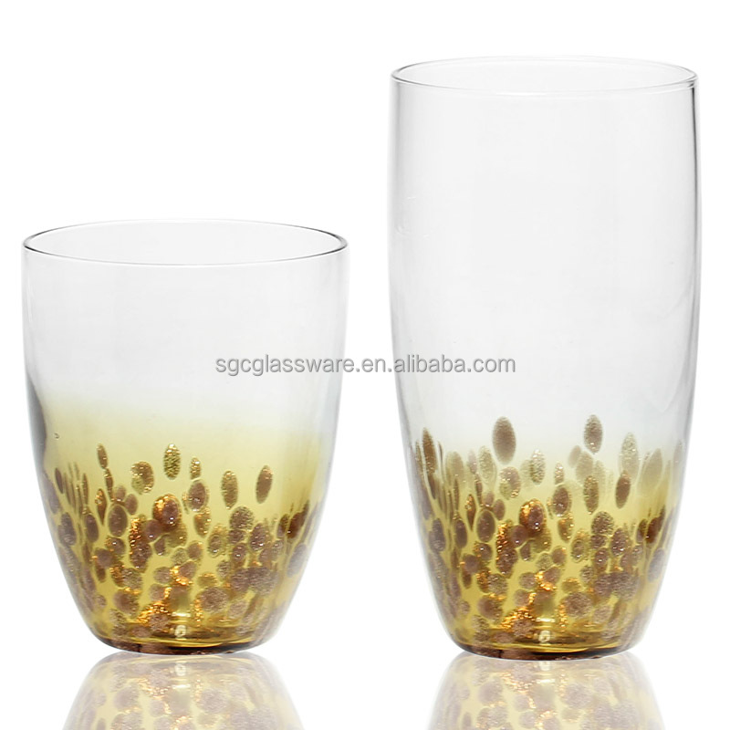 Fancy gold color dots drinking glass set