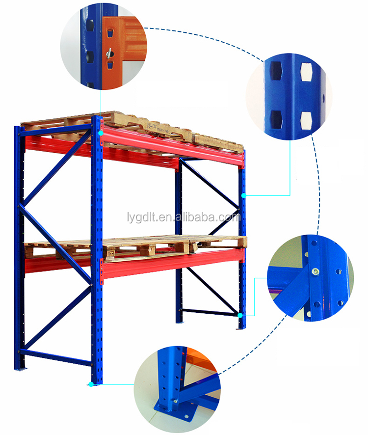 2.7m Length Warehouse Pallet Racking Systems Industrial Steel Storage Racks With 2 Levels