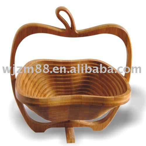 Apple shaped bamboo fruit baskets, folding fruit basket