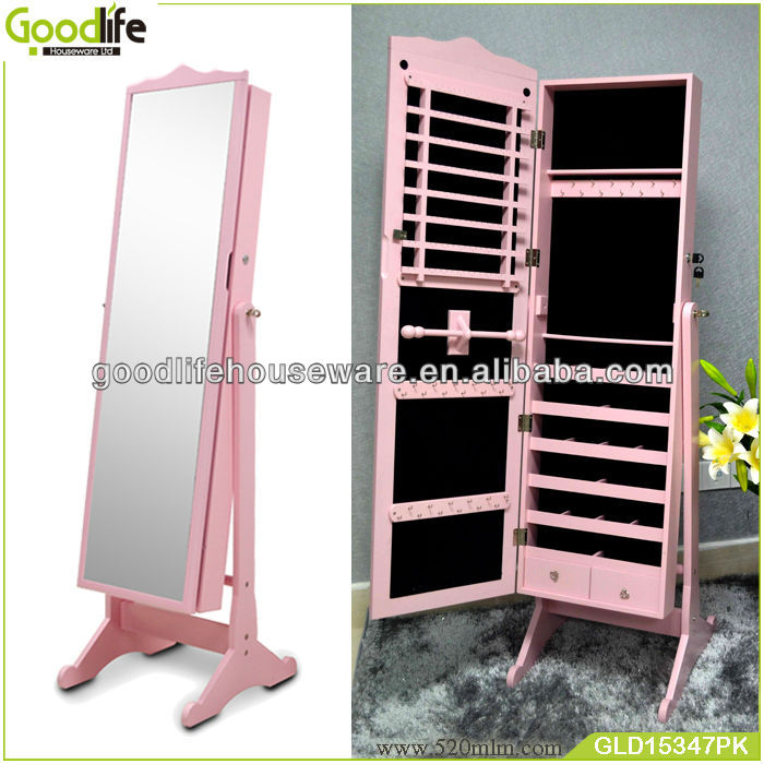 Bedroom furniture wholesale wooden mirrored jewelry cabinet