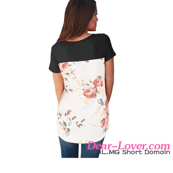 wholesale Black Floral Print Lower Back T-shirts Thailand Clothing