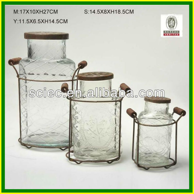 hand made crystal clear glass vases with lids