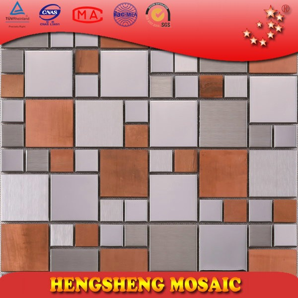 SA47 appling to fireplace mixed ocher and silver metal mosaic tile
