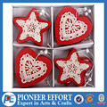 wooden red christmas hanging ornaments in star/heart shape with lace set of 12