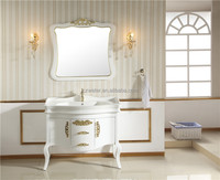 1057-G Antique golden color wooden bathroom vanities