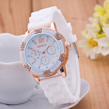 2017 Geneva Colorful Watch Rhinestones Cheap Chronograph Silicone Watch for women