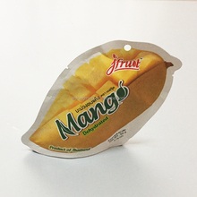 Internally developed unique shape dried mango fruit packaging bag with heat seal for standing