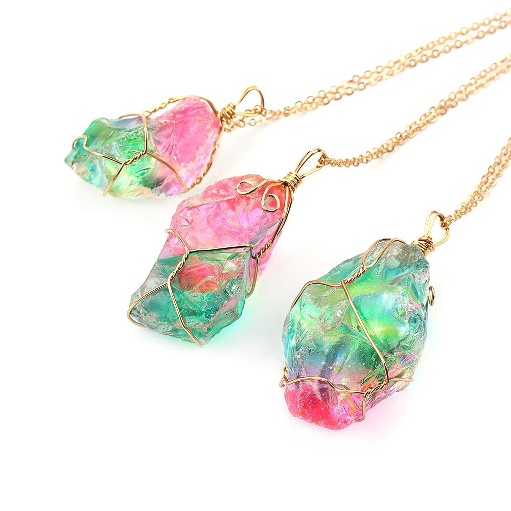 Rainbow Stone Natural Charm Crystal Chakra Necklace Gold Plated Quartz Pendant