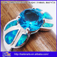 Custom Blue Opal Inlay 925 Sterling Silver Sapphire Engagement Ring Wholesale